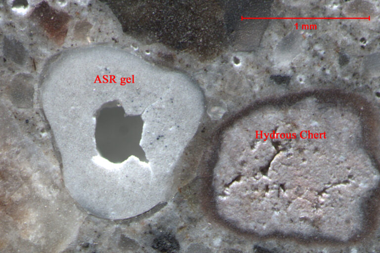 Petrographic thin section showing ASR damage